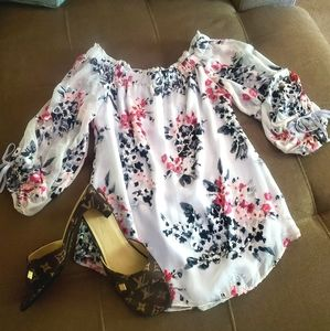 Cherry Blossom Elastic Gathered Wide Neck Blouse